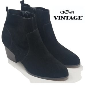 Crown Vintage Tabitha Black Suede Leather Booties